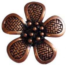 Large Flower Pendant with Crosshatch design, Antique Copper colour