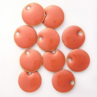 Enamel Circle Tag Charms in Orange, pack of 10