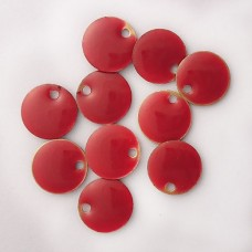 Enamel Circle Tag Charms in Red, pack of 10