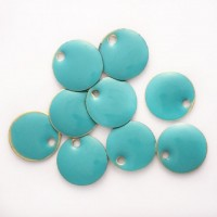 Enamel Circle Tag Charms in Teal, pack of 10