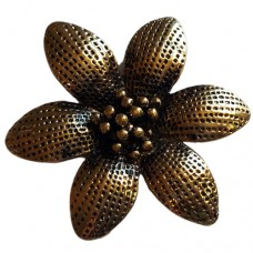 Large Antique Gold Flower Pendant with 6 Dotted Petals
