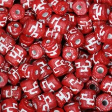 6 x 8mm Small Tube Clay Beads, Red, Pack of 20