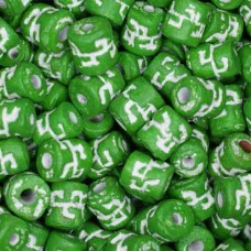6 x 8mm Small Tube Clay Beads, Green, Pack of 20