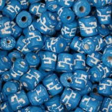 6 x8mm Small Tube Clay Beads, Aqua, Pack of 20