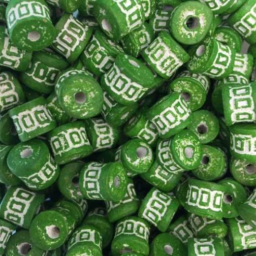 Medium Clay Tube Beads, Green, Pack of 10