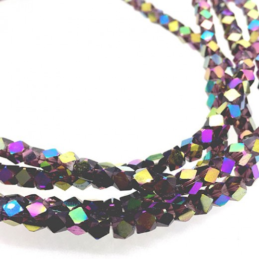 Faceted Clear Glass Strand, 4mm, 94 Beads Per Strand, Purple Rainbow