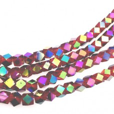 Faceted Clear Glass Strand, 4mm, 94 Beads Per Strand, Red Rainbow