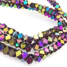 Faceted Clear Glass Strand, 8mm, 66 Beads Per Strand, Purple Rainbow