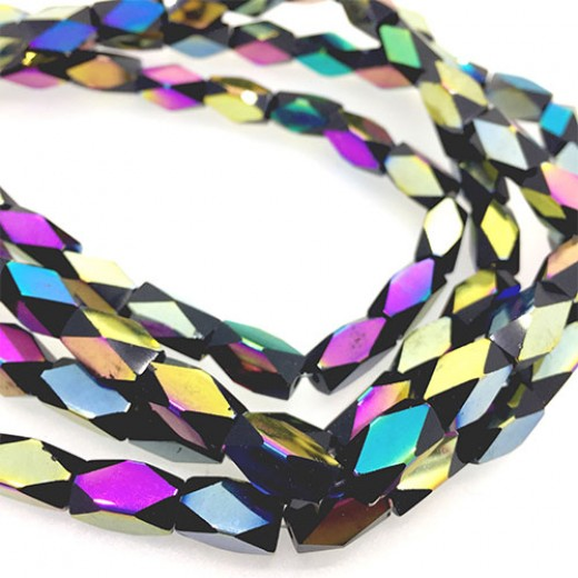 Faceted Clear Glass Strand, 13x7mm, 32 Beads Per Strand, Black Rainbow