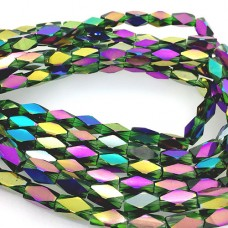 Faceted Clear Glass Strand, 13x7mm, 32 Beads Per Strand, Green Rainbow
