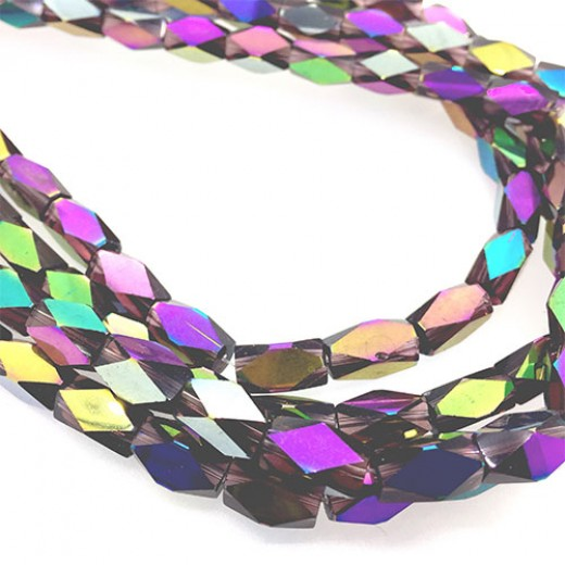 Faceted Clear Glass Strand, 13x7mm, 32 Beads Per Strand, Purple Rainbow