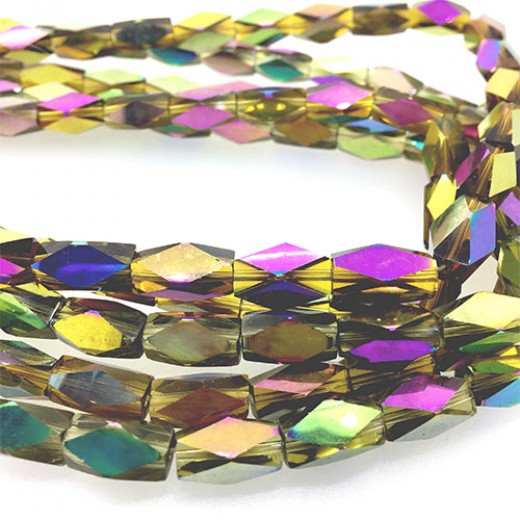 Faceted Clear Indian Glass Strand, 13x7mm, 32 Beads, Yellow Rainbow