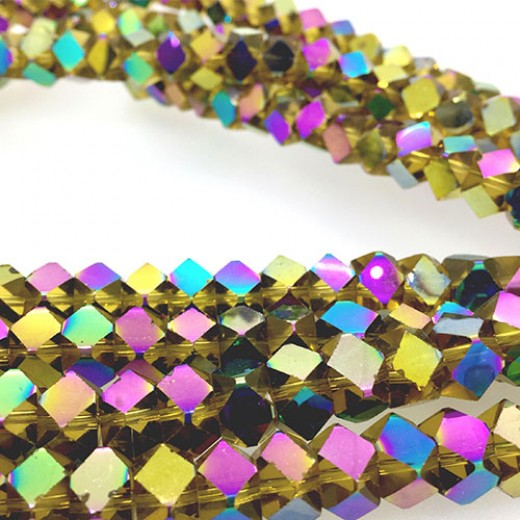 Faceted Clear Glass Strand, 8mm, 66 Beads Per Strand, Yellow Rainbow