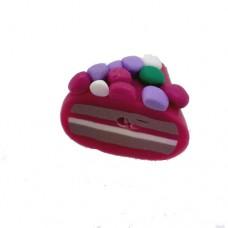 Fimo Purple Cake Slice Bead, 14x16mm