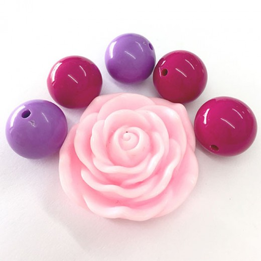Acrylic Bead Mix with Flat Back Rose