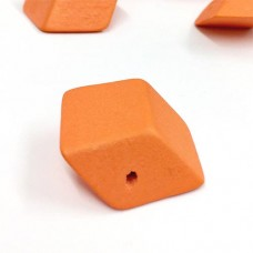 30mm, Wooden Squashed Cube, Pack of 10, Orange