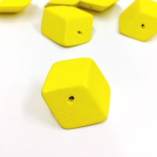 30mm, Wooden Squashed Cube, Pack of 10, Yellow