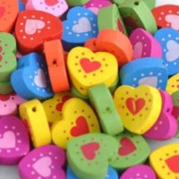 15mm, Wooden Heart Coloured Bead, Pack of 20, Multi-Coloured with Flower Print
