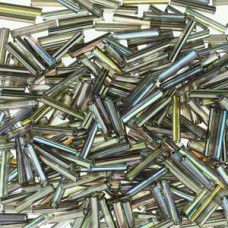 12mm crystal graphite rainbow bugle beads, 10g approx.