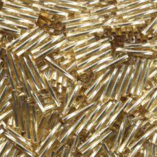 Twisted Gold Silver Lined, 2x 12mm Bugles, pack of 20g