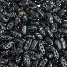 Black/Dark Travertine 3-Hole Cali Beads, 50pcs