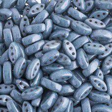 Chalk White/Blue Satin  3-Hole Cali Beads, 50pcs
