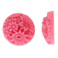 Hot Pink Resin Flat Back Flower, No Hole, 18mm , Pack of 4