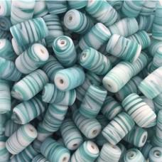 Matte Glass Swirls, 10 x 14mm Tubes, Aqua, Pack of 10