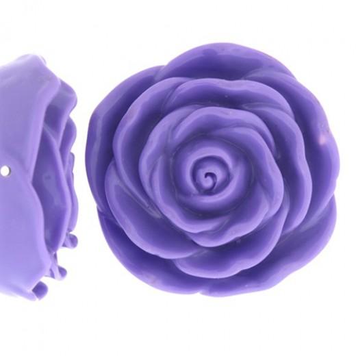 Light Purple Acrylic Flat Back Rose, 45mm