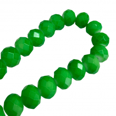 6 x 8mm Crystal Donuts, Neon Green, Strand of 30 Beads