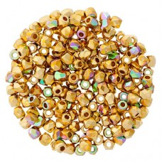24KT Gold Plated AB 2mm Firepolished Beads 75pcs