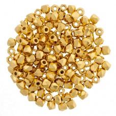 24Kt Gold Plate finish 3mm Firepolished Beads, Strand of 50pcs