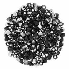 Jet Chrome 2mm Firepolished Beads 150pcs