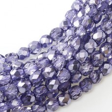 Violet Metallic Ice 4mm Firepolished beads, 120pcs approx.