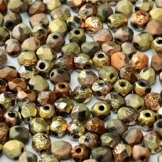 California Gold Rush 4mm Crystal etched firepolished beads, pack of 120pcs