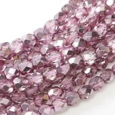 Flamingo Metallic Ice 4mm Firepolished beads, 120pcs