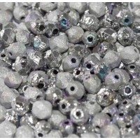 Glittery Silver 4mm Crystal etched firepolished beads, pack of 120pcs