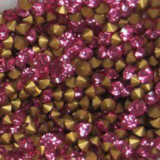Machine-Cut Chaton, pp14 Gold Foiled Light Rose, Pk of 144pcs