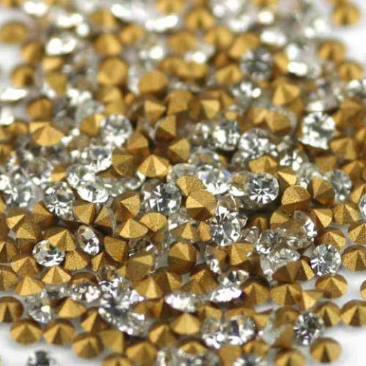 3mm Swarovski Chatons, Crystal Gold Foiled, 100 Pcs