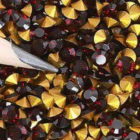 2.8mm Swarovski Chatons PP22 - Gold Foiled Siam x 144 pcs