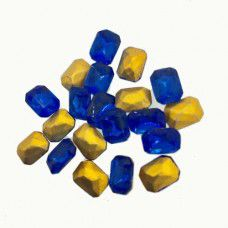 Swarovski Gold Foiled Crystal Octagon - Sapphire x 20 pcs, 6 x 8mm