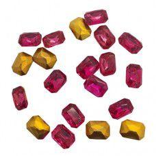Swarovski Gold Foiled Crystal Octagon - Fuschia x 20 pcs, 6 x 8mm