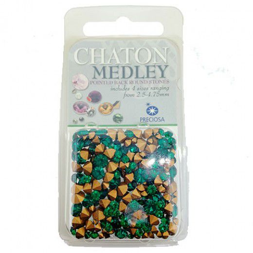 Wholesale Pack Crystal Chatons, 3.8mm Emerald, Approx 1000 Pieces