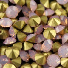 1.6mm Swarovksi Chatons PP11 - Gold Foiled Pink Opal x 100 pcs