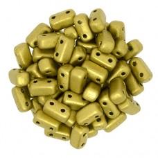 Matte Metallic Aztec Gold 2-Hole Brick Bead - 3 x 6mm -  Pack of 50