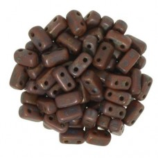 Umber Copper Picasso 2-Hole Brick Bead - 3 x 6mm - Pack of 50