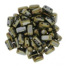 Iris Brown 2-Hole Brick Bead - 3 x 6mm -  Pack of 50