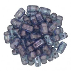 Luster Transparent Amethyst 2-Hole Brick Bead - 3 x 6mm - Pack of 50
