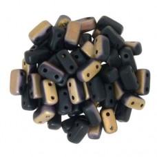 Matte Apollo Jet 2-Hole Brick Beads - 3 x 6mm - Pack of 50