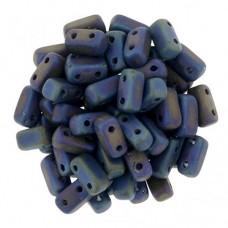 Matte Iris Blue 2-Hole Brick Bead - 3 x 6mm -  Pack of 50